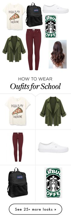 """Another school day"" by karissaibrahim14 on Polyvore featuring Paige Denim, JanSport, Vans, Samsung, women's clothing, women, female, woman, misses and juniors"