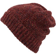 Inverni Red Mix Yarn Beanie Hat ($65) ❤ liked on Polyvore featuring accessories, hats, beanies, hair, beanie cap, red brim hat, beanie cap hat, red beanie and red hat