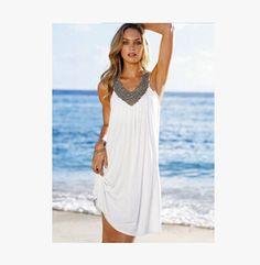 Beach dress new style sleeveless white women dress casual vestidos sex summer dresses fashion vestidos women clothing