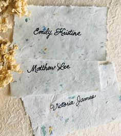 Hand-lettered wedding escort cards on handmade paper from Created by Christa. #createdbychrista #wedding #handletter #handmadepaper #handmade #art #craft #design #inspiration #idea #escortcard #paper #inspo #gardenwedding #formalgarden #garden #flowers #florals #botanicals