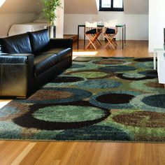Carolina Weavers Dignified Shag Collection Mellow Bubbles Blue Shag Area Rug (5'3 x 7'6) - 5'3 x 7'6