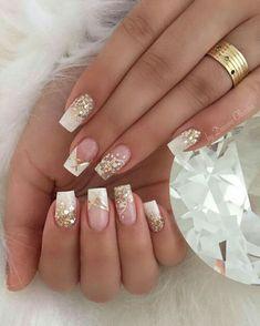 french nails coffin Nailart in 2020 Elegant Nails, Classy Nails, Stylish Nails, Pink Acrylic Nails, Pink Nails, Gel Nails, Coffin Nails, Bride Nails, Wedding Nails