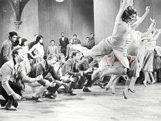 West Side Story Men and Women Dancing Premium Art Print