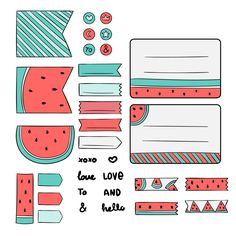 Hand drawn scrapbook kit with watermelon drawings Free Vector Bullet Journal School, Bullet Journal Banner, Bullet Journal Writing, Bullet Journal Aesthetic, Bullet Journal Ideas Pages, Bullet Journal Inspiration, Planner Stickers, Journal Stickers, Hello Design