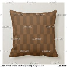 """Dark Brown """"Block Shift"""" Repeating Pattern Pillow Brown Cushions, Repeating Patterns, Christmas Card Holders, Colorful Decor, Custom Pillows, Color Patterns, Dark Brown, Beige, Throw Pillows"""