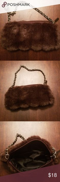 ad6918fb36c5fc Faux fur mini purse Faux Fur mini brown purse eith silver metal and leather  chain strap