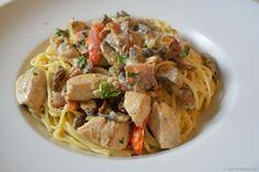 Bunte Hähnchen-Pilz Pasta - Katha-kocht!