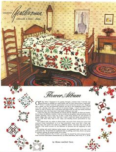 "Country Gentlewoman ""Flower Album"" dated Patterns may originally date from Quilting Blogs, Quilting Templates, Quilting Designs, Antique Quilts, Vintage Quilts, Sampler Quilts, Appliqué Quilts, Patchwork Quilt Patterns, Quilting Patterns"