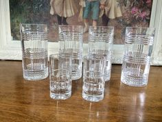RALPH LAUREN Set of 4 Glen Plaid Hi Ball Crystal Glasses Germany Bonus 2 Ports
