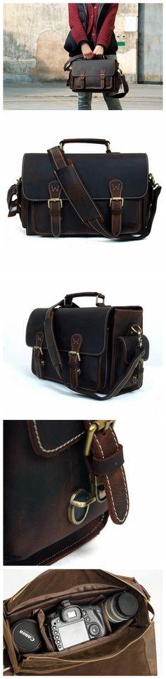Amazon.com   ROCKCOW Unisex Vintage Genuine Leather Removable Padded Insert  Camera Messenger Shoulder Bag for DSLR Camera and Lens   Electronics 011cdbf20c