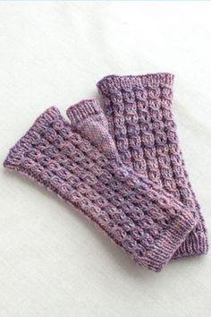 Free pattern for pretty little mitts in St. John's Wort pattern, knit in Fino.