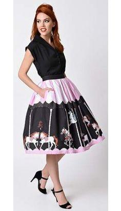 0ddb356428e4 Unique Vintage 1950s Pink   Black Carousel High Waist Circle Swing Skirt  Unique Vintage