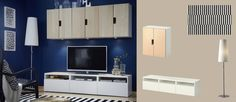 BESTÅ white TV bench with drawers and STUVA wall cabinets with birch veneer doors