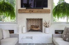 Rad floating mantel! Our mantel brackets are sturdy and can fit any wood! Visit our website or give us a call to start your mantel project today!