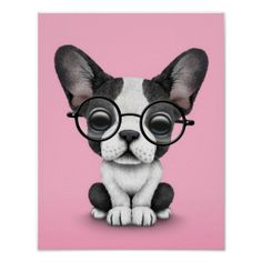 Cute French Bulldog Puppy with Glasses, pink Print