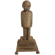 Folk Art Figure With Piercing Eyes | From a unique collection of antique and modern sculptures and carvings at http://www.1stdibs.com/furniture/folk-art/sculptures-carvings/