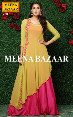 Let the compliments rolling in when you step out in this deep pink and yellow gown by Meena bazaar. The outer of this gown is in yellow color which has pink applique de Long Dress Design, Stylish Dress Designs, Dress Neck Designs, Stylish Dresses, Fashion Dresses, Designer Party Wear Dresses, Kurti Designs Party Wear, Indian Designer Outfits, Indian Gowns Dresses