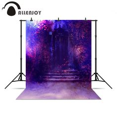 Allenjoy photographic background Purple door leaves mysterious wonderland Photophone photography background for a photo shoot