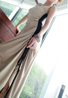 Cheap Women's Elastic Cotton Maxi Dress With Scoop Neck Adjustable Side Sleeveless Design (AS THE PICTURE) | Everbuying.com
