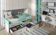 Habitación con cama compacta y armario puente Girls Bedroom, Bedrooms, Bedroom Ideas, Murphy Bed, Bunk Beds, Kids Room, Cabinet, Storage, Furniture