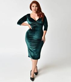 The Diva dress has arrived in a sweetly sleeved cocktail silhouette, darling! A sultry plus size 1950s vintage wiggle dress from Steady, featuring a lightly pleated bodice with a dramatic V-neckline framed by elegant three-quarter length sleeves. Cast in