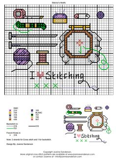 Needlework Sampler Chart with thread color guide. Image only. Joanne Sanderson's website is no longer available.