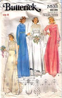 1970s+bridesmaid+dress+pattern | 1970's WEDDING GOWN & Bridesmaid DRESS Pattern 5533-b Sz 8 - Women's ...