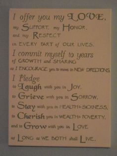 Wedding Vows painted on a canvas!