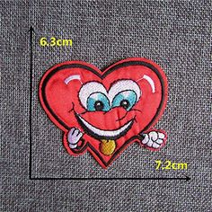 FairyTeller Fashion Good-Looking Red Heart Patch Hot Melt Adhesive Applique Embroidery Patch Diy Clothing Accessory Patch C436-C2076 >>> Click image for more details.