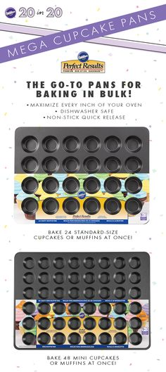 MEGA Bakeware is designed to maximize every inch of your oven - so you can easily whip up a big batch of regular and mini cupcakes or muffins!