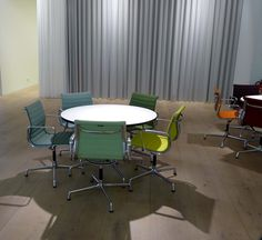 Beautiful new colors for #Eames Aluminum Group on display @vitrahaus @vitra Weil am Rhein, Germany