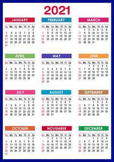 2021 Monthly Calendar Templates