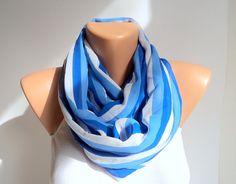 Blue stripes scarf/ Loop scarf/ Chiffon scarf/ by WorldScarf, $8.00