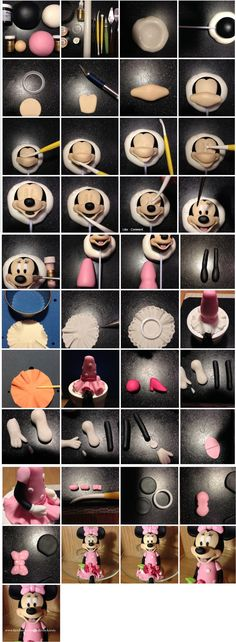 Minnie Mouse Topper Tutorial, using clay or cookie doughwhat do you think of this Minnie Mouse Topper.How to build a Minnie Mouse body cake Bolo Da Minnie Mouse, Minnie Cake, Mickey Mouse Cake, Minnie Mouse Cake Topper, Fondant Toppers, Fondant Cakes, Cupcake Cakes, Fondant Bow, Car Cakes