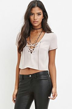 Buy it now. FOREVER21 Women's  Lace-Up Crop Top. STYLE A short-sleeved crop top featuring a lace-up V-neckline.Unlined, woven100% polyesterHand wash coldMade in ChinaFIT Measured from Small15%22 full length, 36%22 chest, 34%22 waist, 8%22 sleeve length , topcorto, croptops, croptops, croptop, topcrop, topscrops, cropped, bailarina, topbailarina, corto, camisolacorta, topcortoestilobandeau, crop, bralet, strappybralet, bandeautop. Dark brown FOREVER21  crop top  for woman.