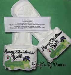 Merry Christmas Y'all Maxi Pad Slippers... by kraftsbydonna