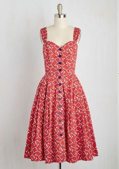 Brunch With Buds Dress in Swimmers. Your friends arent the only beautiful things surrounding you this morning - this red dress from hard-to-find British brand Emily and Fin is, as well. #red #modcloth