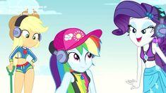 #1675535 - applejack, clothes, cute, dashabetes, equestria girls, jackabetes, lost and found, phone, rainbow dash, raribetes, rarity, safe, screencap, spoiler:eqg series, swimsuit - Derpibooru - My Little Pony: Friendship is Magic Imageboard