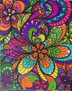 ColorIt Colorful Flowers Volume 1 Free coloring page Colorist: Melissa Woolsey #adultcoloring #coloringforadults #flowers #doodle
