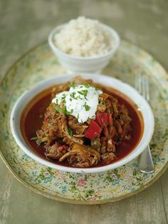 Jamie Oliver's Spicy pork & chilli-pepper goulash--  a complete classic. Its also one of those dishes which tastes great when reheated the day after its been made. Youve got a whole range of chilli and pepper flavours going on; from smoked paprika to fresh chillies, and fresh peppers to sweet grilled and peeled ones. Delish!