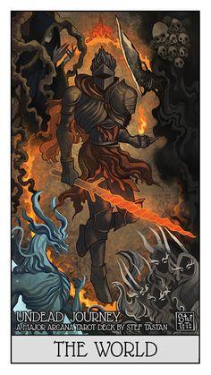 Undead Journey - A Dark Souls Major Arcana, Stef Tastan Dark Souls 2, Arte Dark Souls, Ornstein Dark Souls, Soul Saga, Bloodborne Art, Tarot Major Arcana, Wow Art, Dark Fantasy Art, Passion Project