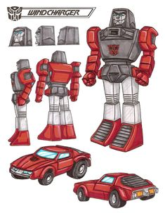 Windcharger is the fastest Autobot over short distances. Good in situations requiring fast, decisive action. Enthusiastic, but inpatient. Short attention span. Casts powerful magnetic fields which can attract or repel large metal objects. Smashes them at closer distances. These abilities use up tremendous energy. Often burns himself out due to carelessness. - See this image on Photobucket.