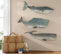 Painted Wood Whales Wall Art, Set of 3 #potterybarn