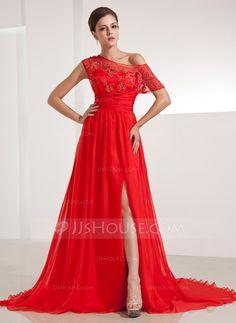 Evening Dresses - $136.99 - A-Line/Princess Off-the-Shoulder Chapel Train Chiffon Evening Dress With Ruffle Lace Split Front (017014210) http://jjshouse.com/A-Line-Princess-Off-The-Shoulder-Chapel-Train-Chiffon-Evening-Dress-With-Ruffle-Lace-Split-Front-017014210-g14210