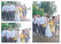 gray and yellow wedding Bridal party