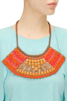 Pink and orange beadwork embroidered statement neckpiece available only at Pernia's Pop-Up Shop