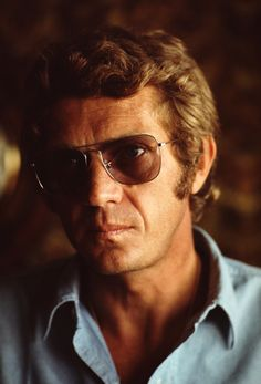 McQueen wears eyewear of the era, 1970.
