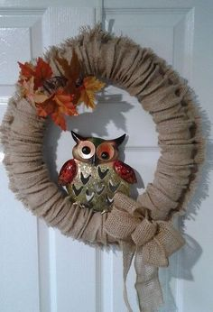 four season burlap wreath, crafts, wreaths