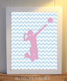 Girl's wall art, volleyball art, sports art, girl's room art, chevron, volleyball player, dorm room decor, custom colors