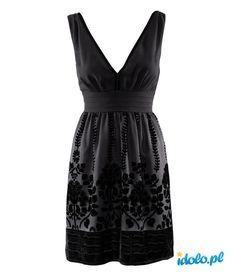 czarna sukienka z apikacją kwiatową H&M z kolekcji karnawałowej 2012